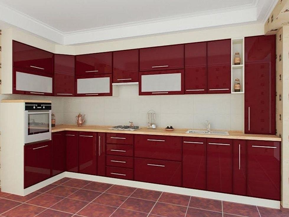 Бордовые кухни на левую сторону с фото